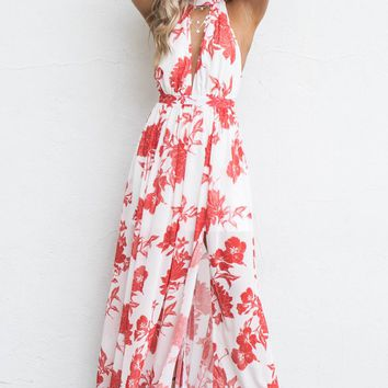 No Tears White & Red Floral Maxi