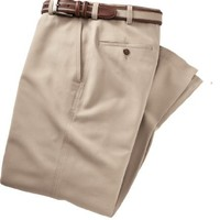 "VIP Cotton Tencel Plain Front Pants (KHAKI, 32 32"" INSEAM)"