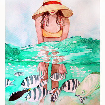 Tropical Fish and Girl Swimming Watercolor - Original Painting 9x12