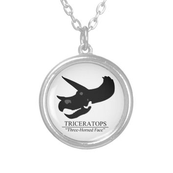 Triceratops Skull Silver Plated Necklace
