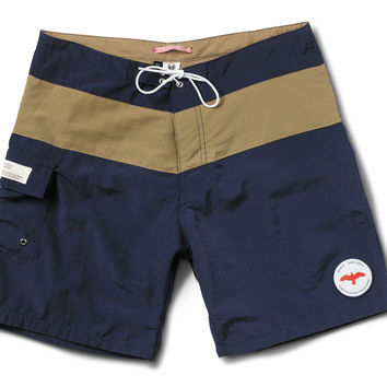 Apolis Navy And Khaki Swim Trunk Blue