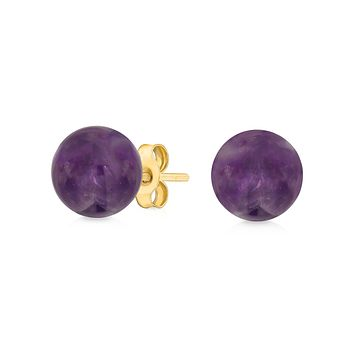 Ball Stud Earrings 14K Real Yellow Gold Birthstone Gemstones By Month