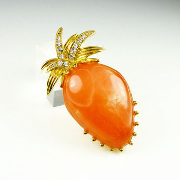 Vintage Brooch Pineapple Orange Coral Lucite Rhinestone Figural Jewelry