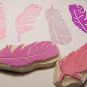 Feather Duo Rubber Stamp Set - Two Hand Carved Stamps