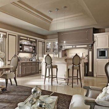 Lacquered fitted kitchen with island TOSCA Luxury Kitchen Collection by Martini Mobili