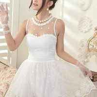 white elegant dress lace flower sweat final clearance x015 from greatdeals