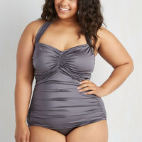 Pinup Halter Bathing Beauty One-Piece Swimsuit in Pewter - Plus