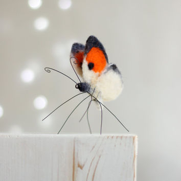 Needle Felted Butterfly - Needle Felt Orange Butterfly - Summer Celebrations - Home Decoration - Needle Felt Art Doll