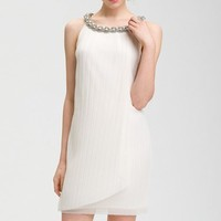 Women's Donna Ricco Embellished Neck Chiffon Shift Dress