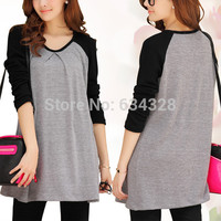 Autumn Cotton Maternity Top Solid Color One-piece Dresses Loose Long-sleeve Pregnancy T-shirt Clothes For Pregnant Women