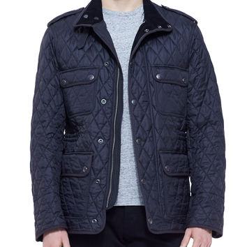 Leather-Trim Quilted Field Jacket - Burberry Brit