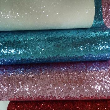 Eco-friendly Chunky Glitter Pu leather fabric Mix colorful decor living room bedding wallpaper