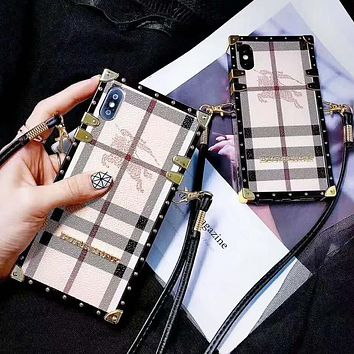 Burberry Fashion New Plaid Protective Cover Women Men Personality Phone Case