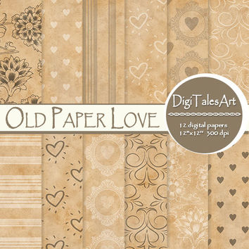 "Hearts digital paper ""Old Paper Love"" digital clip art papers, craft paper patterns, love background, old paper background"