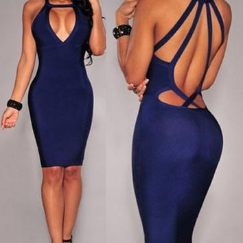 Blue Cut-Out Strappy Back Midi Dress