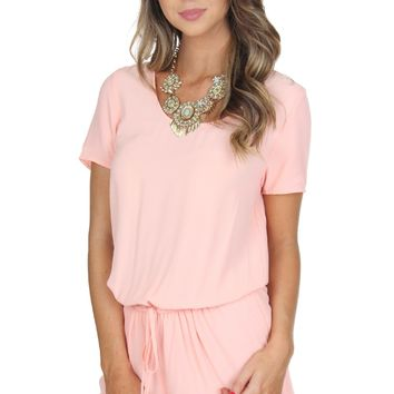 Scoop Neck Romper Peach