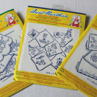 Aunt Martha's Hot Iron Transfers Set of 3 Mexican , Flower Baskets , Floral Motifs