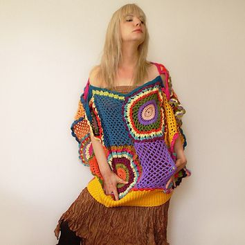 Slouchy Women's Crochet Sweater Vest by subrosa123 on Etsy