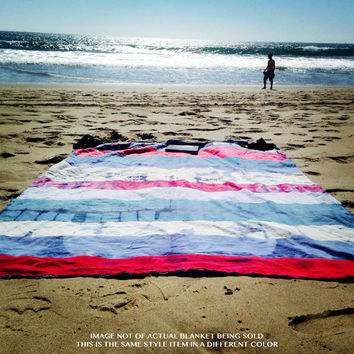 "Customized ""Skinny"" Tie Dye Beach Blanket / Throw Handmade in California - Medium Size"