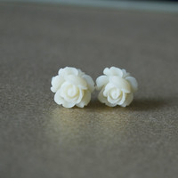 Rose Stud Earrings Resin Flower Earrings Cute Earrings