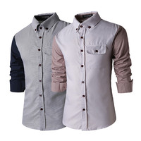 Men's Color Contrast Casual Button Shirt