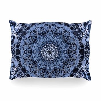 "Nina May ""Tie-Dye Mandala Jain Blue"" Blue White Watercolor Oblong Pillow"
