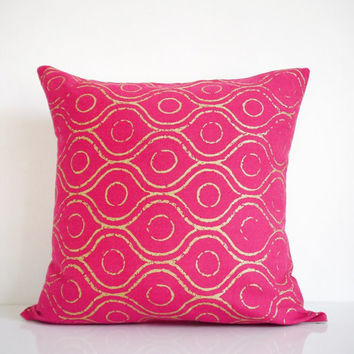 Pink throw pillow - metallic gold print on pink denim, bohemian pillow, hot pink pillow, organic cotton