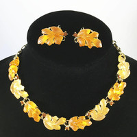 Lisner Thermoset Demi Parure, Apricot and Orange Necklace Earrings, 1950's Rhinestones and Lucite Jewelry