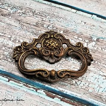 Keeler Brass Ring Pull Decorative Vintage Drawer Pull Brass Drawer Pull Baroque Antiqued Gold Dresser Drawer Pull Petite Ring Pull