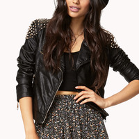 FOREVER 21 Spiked Shoulder Moto Jacket Black/Gold Large