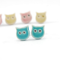 Mini ceramic cats- stud earrings, post, turquoise, surgical steel, blue