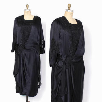 Vintage EDWARDIAN DRESS / 1910s Black Silk Lace Trim Cut-Out Dress L