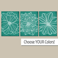 WALL ART CANVAS or Prints Emerald Green Bathroom Pictures, Home Decor, Green Bedroom Artwork, Dahlia Flower Outline, Set of 3 Home Decor
