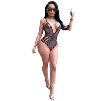 2018 Summer Sequined Sleeveless Bodysuit Tops Women Sexy Hollow Out Bodysuit Solid Bodycon Body Suit Leotard Top Outfit S3299