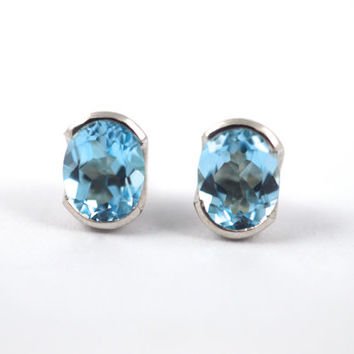 Topaz silver studs, silver studs, blue studs, something blue