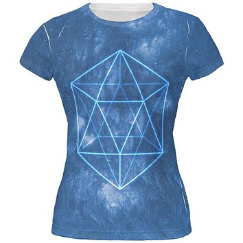 Sacred Geometry Icosahedron Crystal Wind All Over Juniors T Shirt