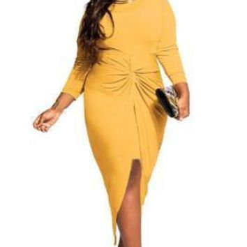 Elegant Plus Size Mustard Dress Forked Tail Long Sleeve