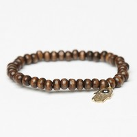 WOODEN BRACELET WITH HAMSA HAND CHARM