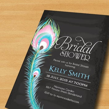 Bridal Shower invitation chalkboard Wedding Shower invitation Peacock Feather Invitation  Chic Invitation Card Design  - card 385