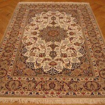 Signed Persian Hand-Knotted Carpet 5x8 Wool & Silk on Silk Ivory Isfahan Rug