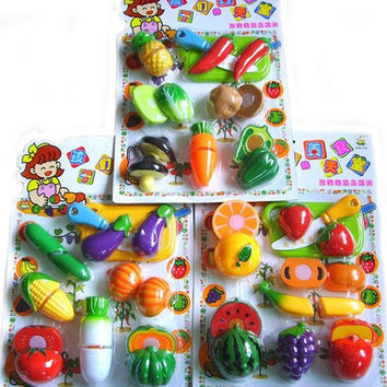 Kitchen Toys Plastic Vegetables And Fruit Pretend Play Toys For Girl Children Kids
