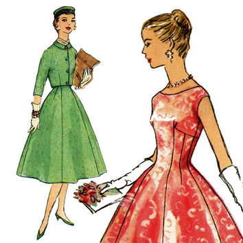 1950s Dress Pattern Bust 32 Simplicity 1674 Day Evening Cocktail Party Fit and Flare Dress and Bolero Jacket Womens Vintage Sewing Patterns