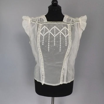 Vintage 1950's Ellbie Blouse Romantic Sweet Sheer White Shirt Victorian Edwardian Style Medium Lace Embroidered Blouse Mad Men Rockabilly