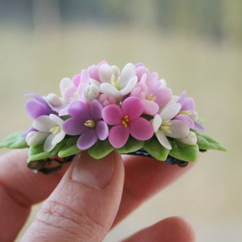 Pink, lilac, white Flower hair barrette. Flower hair accessory. Spring hair clip, barrette. Floral hair accessories. Polymer clay flower.