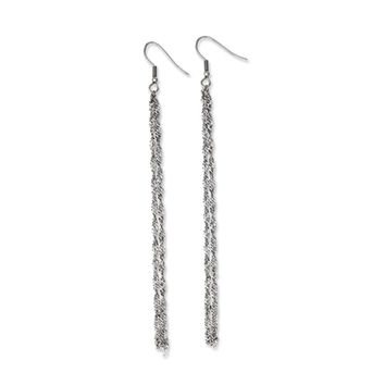 Long Polished Double Ropa Chain Dangle Earrings in Stainless Steel