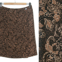 Vintage Floral Skirt~Size Medium~Waist 28~90s Brown Tan Flower Paisley Wrap High Waisted Short Skirt~By Charter Club