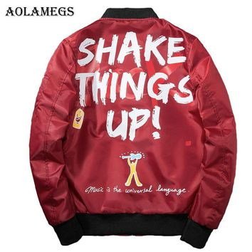 Trendy Aolamegs Bomber Jacket Men Graffiti Print Thin MA-1 Men's Jacket Hip Hop Fashion Outwear Autumn Men Coat Bomb Baseball Jackets AT_94_13