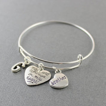 Brother memorial Bracelet - Brother Memorial Bangle bracelet - You Are Always In My Heart Brother Memorial Jewelry - Select Initial In Menu