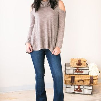Aspen Daydream Cold Shoulder Taupe Top