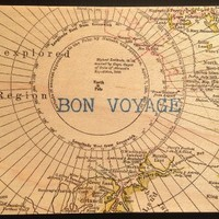 Vintage Cedar Mailable Wooden Post Card (Bon Voyage (Unexplored Region Map))